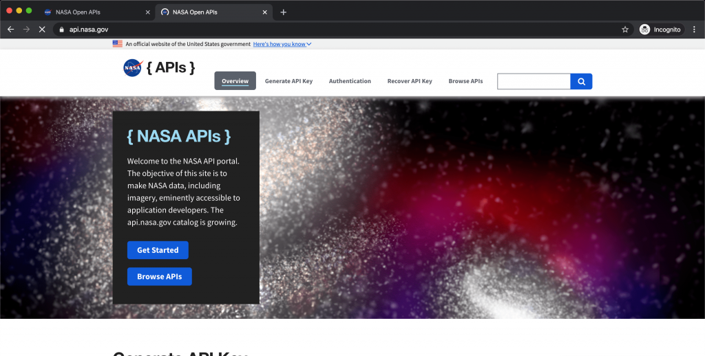 Nasa Open API Websites