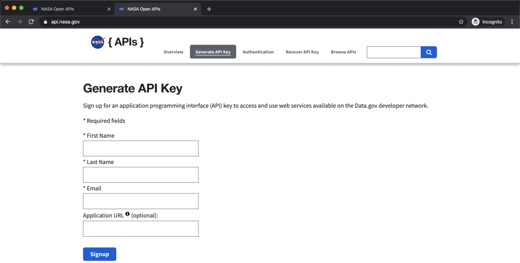 API Key Generate Form