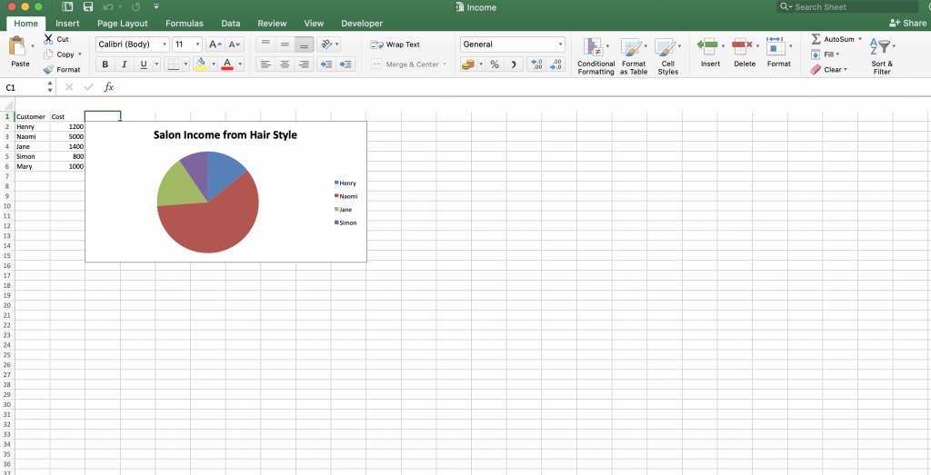 Excel Pie Chart Output